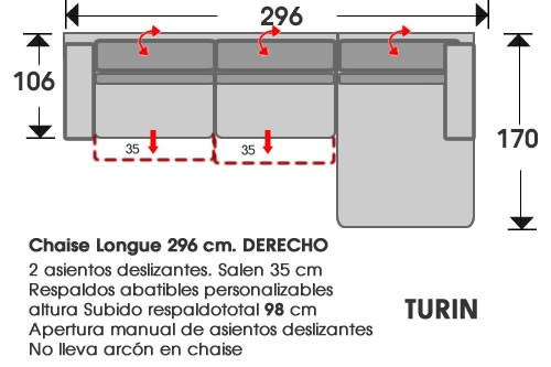 (202) ChaiseLongue 296cm DCHO