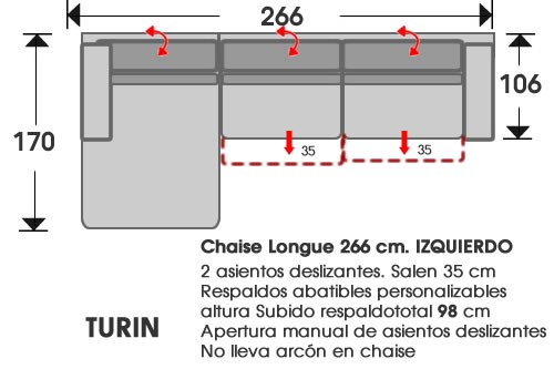 (202) ChaiseLongue 266cm IZDO