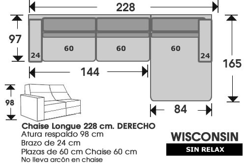 (210) ChaiseLongue 228cm DCHO sin relax