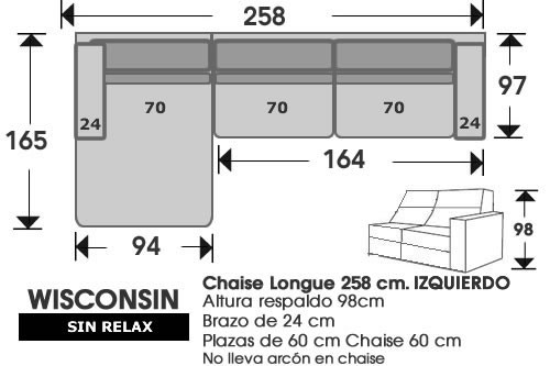 (210) ChaiseLongue 258cm IZDO sin relax