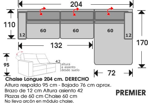 (213) ChaiseLongue 204cm DCHO