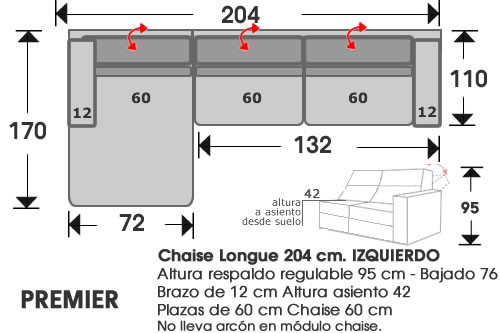 (213) ChaiseLongue 204cm IZDO
