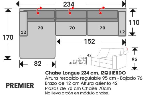 (213) ChaiseLongue 234cm IZDO