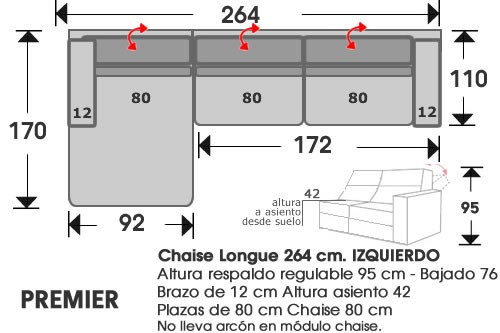 (213) ChaiseLongue 264cm IZDO