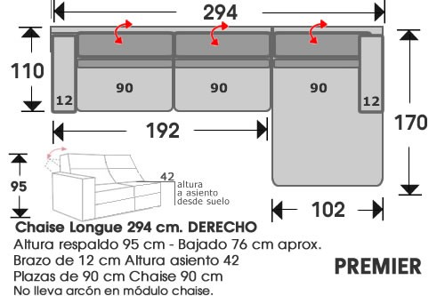 (213) ChaiseLongue 294cm DCHO