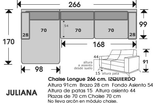 (214) ChaiseLongue 266 cm. IZDO