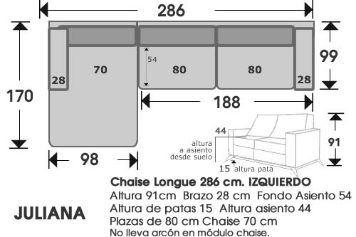 (214) ChaiseLongue 286 cm. IZDO