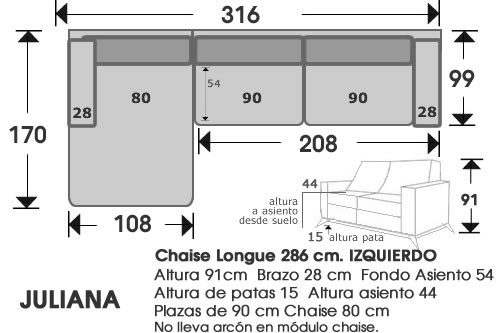 (214) ChaiseLongue 316 cm. IZDO