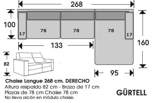 (247) ChaiseLongue 268cm DCHO