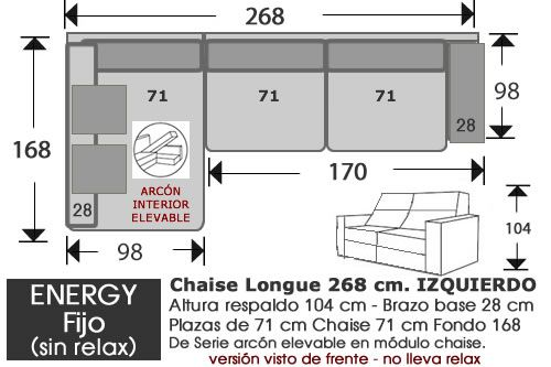 (262) ChaiseLongue 268cm IZDO Fijo