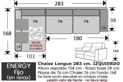 (262) ChaiseLongue 283cm IZDO Fijo