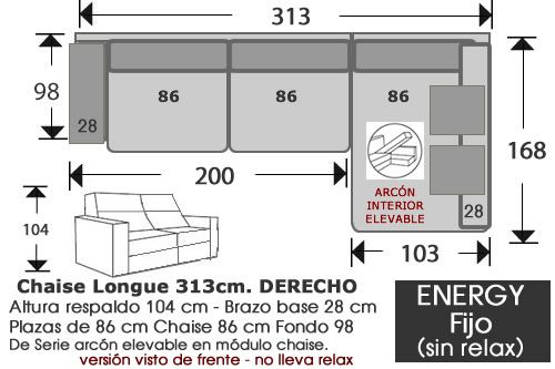 (262) ChaiseLongue 313cm DCHO Fijo