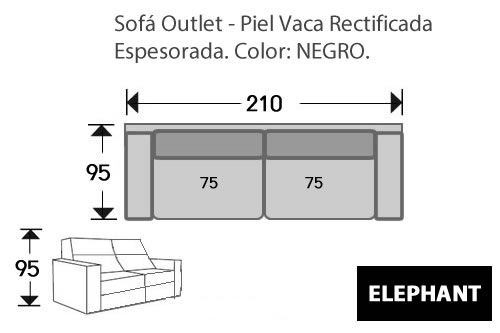 (266) Sofá 3p 210cm OUTLET