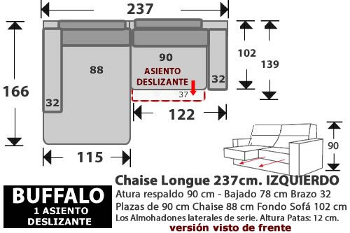 (268) ChaiseLongue 237cm. IZDO. 1 Desliz.