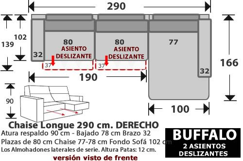 (268) ChaiseLongue 290cm. DCHO. 2 Desliz.