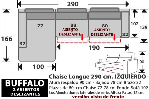 (268) ChaiseLongue 290cm. IZDO. 2 Desliz.