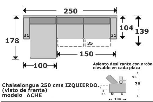 (101) ChaiseLongue 250cm Izdo