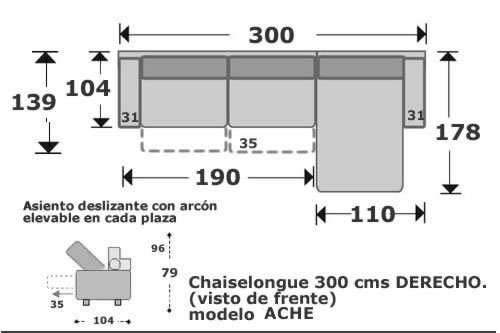 (101) ChaiseLongue 300cm Dcho