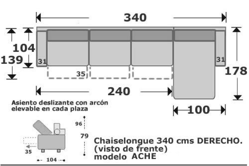 (101) ChaiseLongue 340cm Dcho