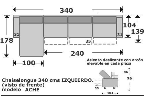 (101) ChaiseLongue 340cm Izdo