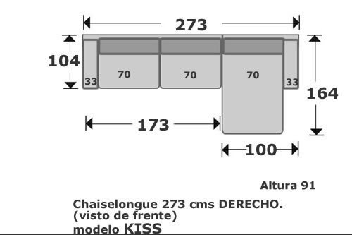 (116) ChaiseLongue 273cm Dcho