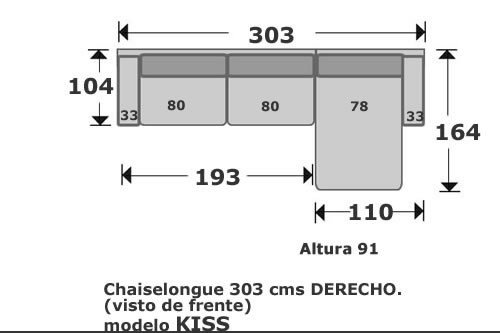(116) ChaiseLongue 303cm Dcho
