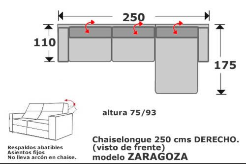 (135) ChaiseLongue 250cm Dcho