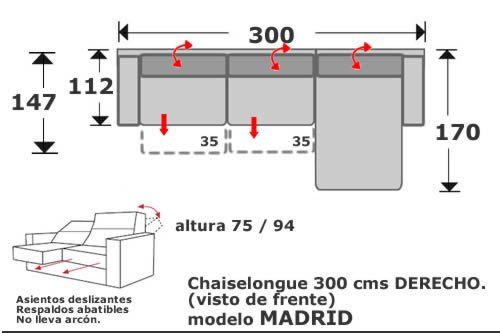 (136) ChaiseLongue 300cm Dcho